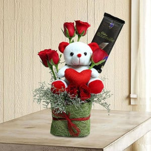 Teddy Among Roses - Online Flower Delivery in Gurgaon