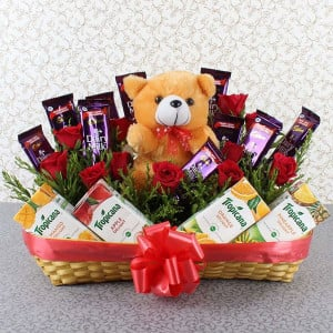 Healthy Choice Basket - Valentine's Day Flowers and Chocolates