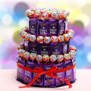 3 Tier Choco Pop Cake - Anniversary Chocolates