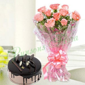 10 Pink Roses n Chocolate Cake Combo - Online Cake Delivery in India