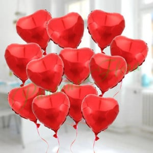 12 Lovely Heart Shape Balloons - Send Anniversary Gifts Online