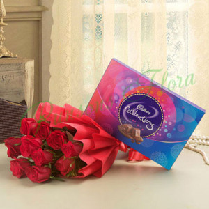 8 Red Roses With Cadbury Celebration - Anniversary Chocolates