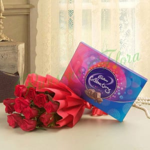 8 Red Roses With Cadbury Celebration - Anniversary Flowers Online