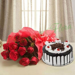 Black Forest n Flowers - Send Eggless Cakes Online