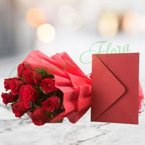 Bouquet N Greeting Card - Anniversary Flowers Online