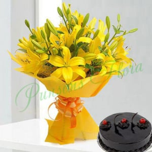 Bright Yellow Asiatic Lilies n Cake - Birthday Cake Delivery in Noida