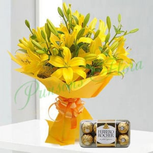 Bright Yellow Asiatic Lilies n Rocher - Send Birthday Gift Hampers Online
