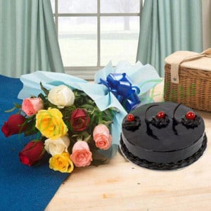 Chocolate Cake and Roses - Wedding Anniversary Bouquet with Cake Delivery