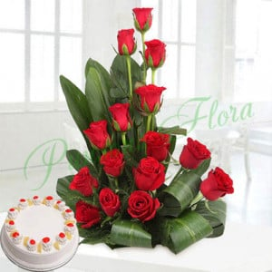 Corp Flower with Pineapple Cake - Send Eggless Cakes Online