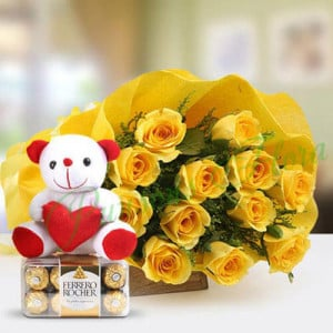Fathers Day Spl Care Express - Flowers with Soft Toys online