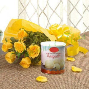 Fathers Day Spl Yellow Roses N Rasgulla - Flowers with Sweets Online