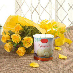 Fathers Day Spl Yellow Roses N Rasgulla - Flowers Delivery in Chennai
