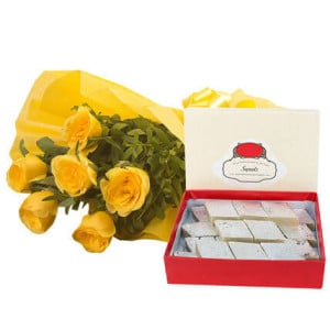 Fathers Day Yellow Roses N Kaju Katli - Flowers with Sweets Online