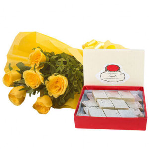 Fathers Day Yellow Roses N Kaju Katli - Send Diwali Flowers Online