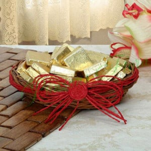 Golden Choco Basket - Online Christmas Gifts Flowers Cakes