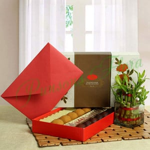 Good Luck with Assorted Sweets - Anniversary Flowers Online