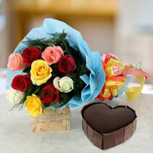 Heart Cake with Roses - Send Diwali Flowers Online