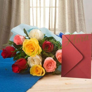 Mix Roses N Greeting Card - Anniversary Flowers Online