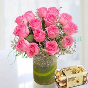 Pink Roses Arrangement With Rocher - Anniversary Flowers Online