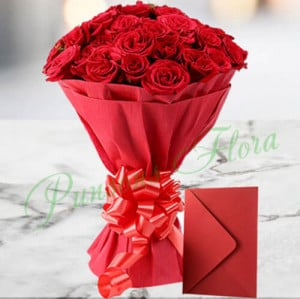Red Roses N Greeting card - Send Diwali Flowers Online