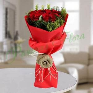 Red Roses Romantic Bunch - Send Diwali Flowers Online