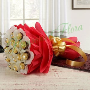 Rocher Choco Bouquet - Send Flowers and Chocolates Online