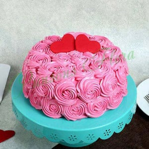 Rose Cream Valentine Cake Vanilla Eggless - Send Wedding Cakes Online