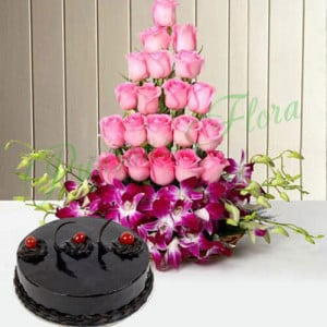 Roses And Orchids Basket With Cake - Online Christmas Gifts Flowers Cakes