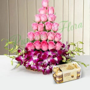 Roses And Orchids Basket With Rocher - Anniversary Flowers Online
