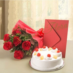 Roses N Cake Hamper - Flowers and Cake Online