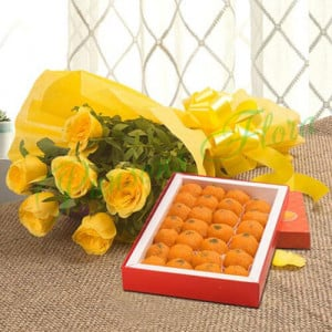 Roses N Ladoo - Flowers with Sweets Online