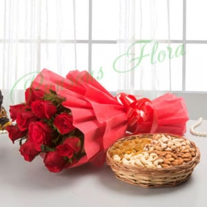 Roses with dry fruits - Send Diwali Flowers Online
