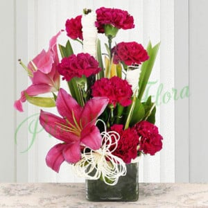 Serene Carnation - Glass Vase Arrangements