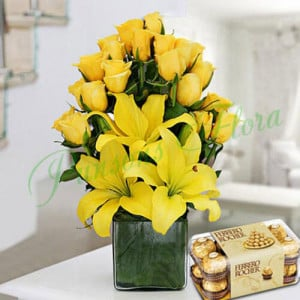 Sunshine Vase Arrangement With Rocher - Send Lilies Online India