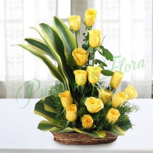 Sunshine Yellow Roses Bouquet - Send Diwali Flowers Online