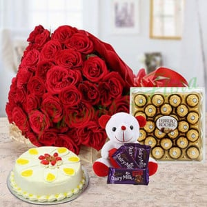 Tower Of Love Combo - Flowers with Soft Toys online