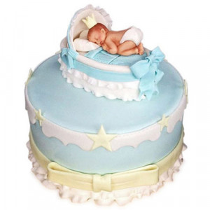 Baby In The Crib Fondant Cake - Birthday Cake Online Delivery - Online Cake Delivery in India