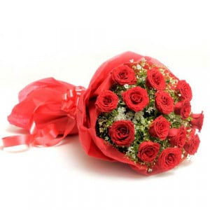 The Scarlet Love 15 Red Roses - Promise Day Gifts Online