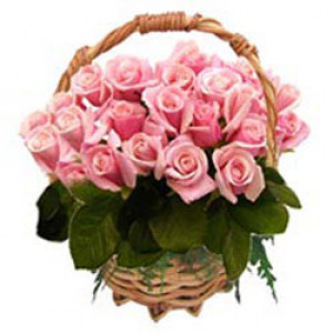 50 Pink Roses Basket - Rose Day Gifts Online