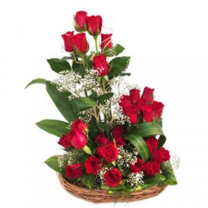 24 Red Roses In Around Basket - Kiss Day Gifts Online