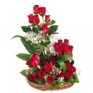 24 Red Roses In Around Basket - Promise Day Gifts Online