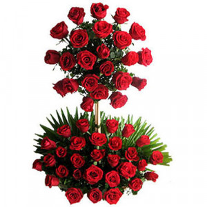 2 Tier Red Arrangement - Same Day Delivery Gifts Online