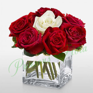 11 Red n 1 White rose in Cube Vase - Same Day Delivery Gifts Online