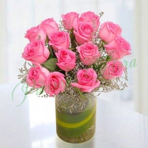 15 Pink Roses Vase Arrangement - Send Diwali Flowers Online