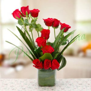 Beautiful Red Roses Vase Arrangement - Send Diwali Flowers Online