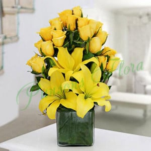 Sunshine Vase Arrangement - Send Diwali Flowers Online
