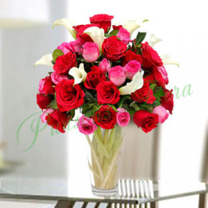 Sweet Emotions in Vase - Send Lilies Online India