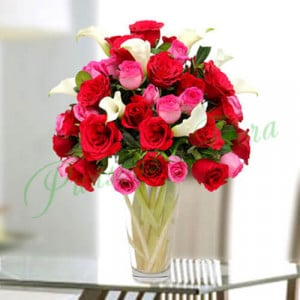 Sweet Emotions in Vase - Online Christmas Gifts Flowers Cakes