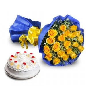 Golden Moments - Flowers and Cake Online