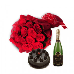 Celebration Champagne - Wedding Anniversary Bouquet with Cake Delivery